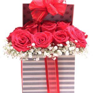 8 rosas en caja 68.95